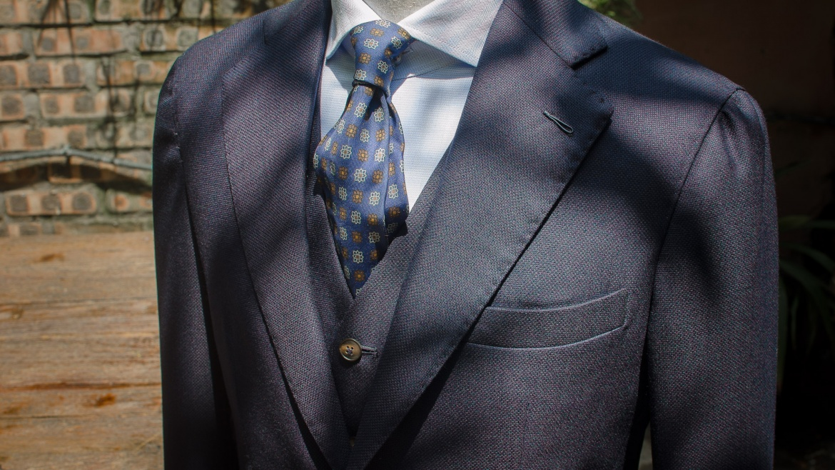 Suit with Hopsack fabric by Vitale Barberis Canonico 1663